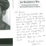 A personal note inside a copy of Joe Rochefort's War, from the author Eliot Carlson, thanking David Hays and CU Boulder Archives for all their assistance during his research.