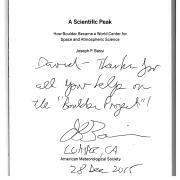 Personal thanks from Joseph Bassi, author of A Scientific Peak.
