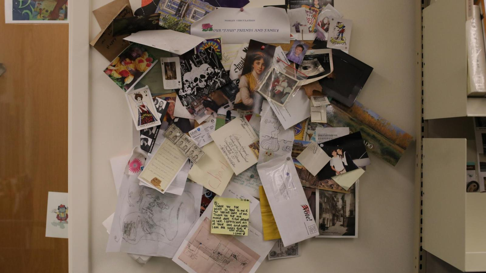There is an entire bulletin board dedicated to objects found in library materials.