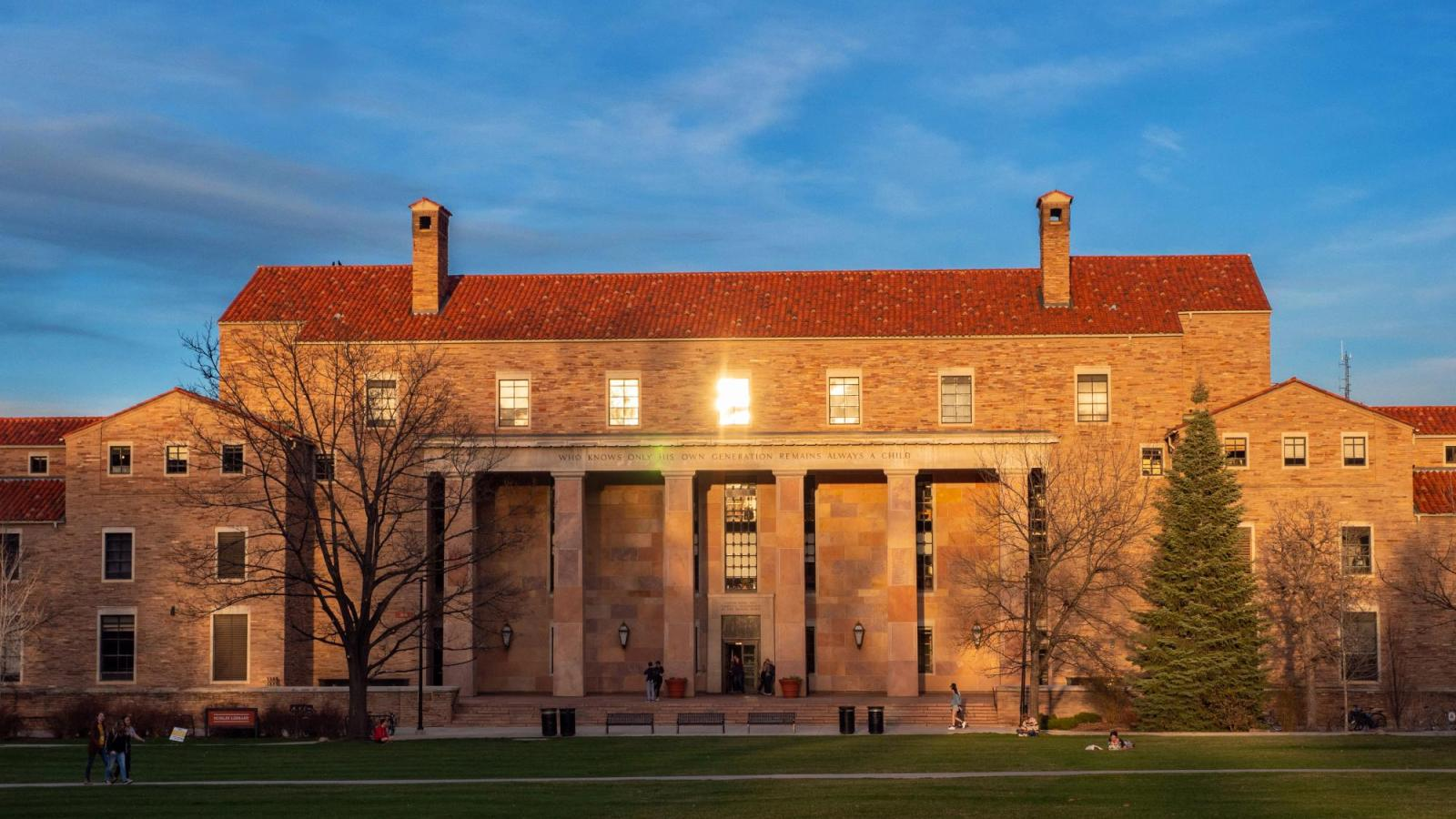 Norlin Library at sunset