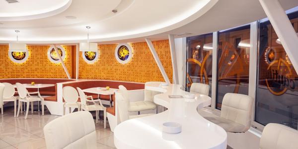 A modern-looking restaurant interior with unique lighting design
