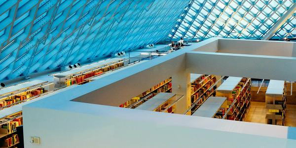 A library with a glass ceiling.