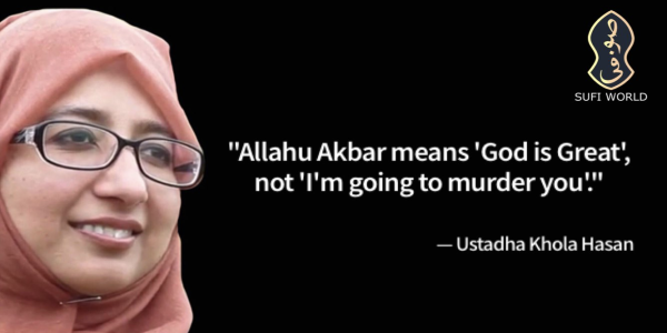 "A woman in a hijab with the text ""Allahu Akbar means 'God is great' not 'I'm going to murder you'."""
