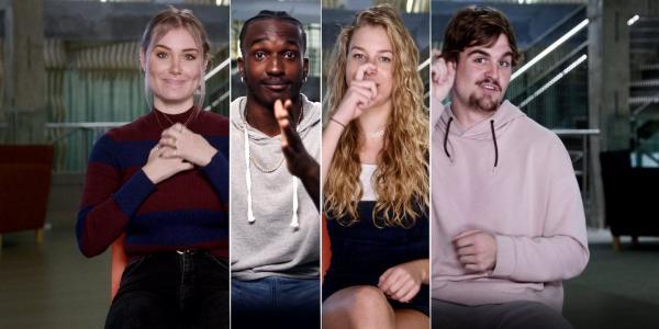 Deaf people using sign language