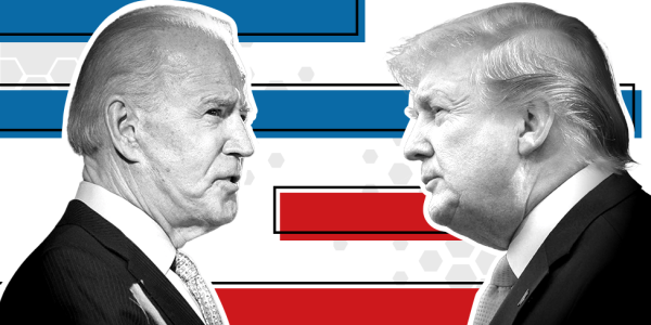 Black and white photos of Trump and Biden