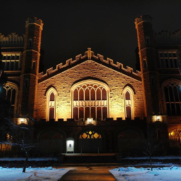 Night view of front face of Macky with snow on ground