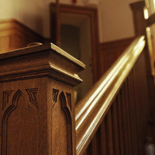 Architectural detail: Grand Stair, West Tower. (Photo by Casey A. Cass/University of Colorado)