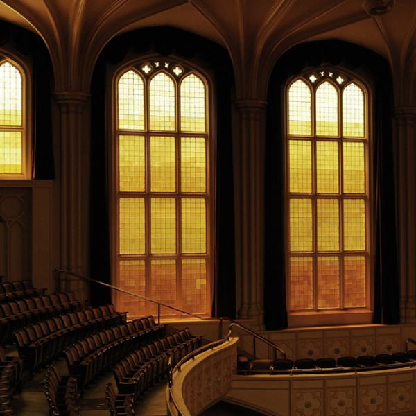 Architectural detail: Stained glass windows, looking west. (Photo by Casey A. Cass/University of Colorado)