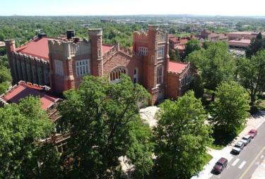 Aerial view of Macky Auditorium