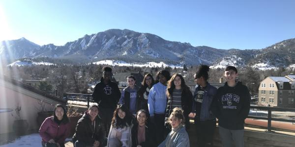 students with mountains