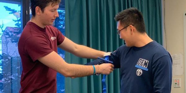 Pre-Health Society students testing equipments
