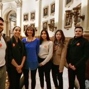 Left to right, CU Boulder students Michael Nothem, Gwendalynn Roebke, Lluvia Macias, Janet Lee and José Gutierrez with State Senator Tammy Story.