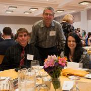 Mark Winey celebrates with scholarship awardees.