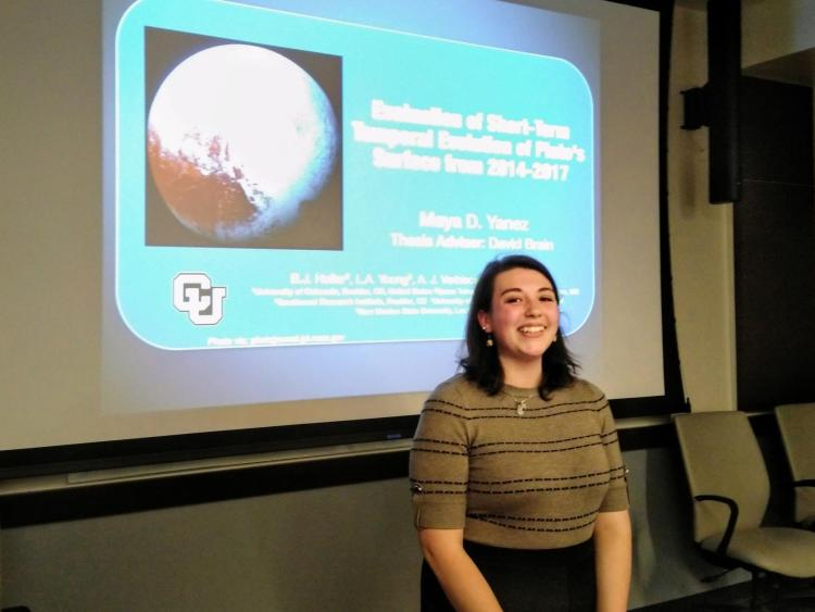 Maya Yanez presenting a talk