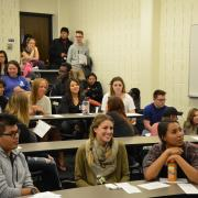 Students attend a power hour on how to be an ALLY