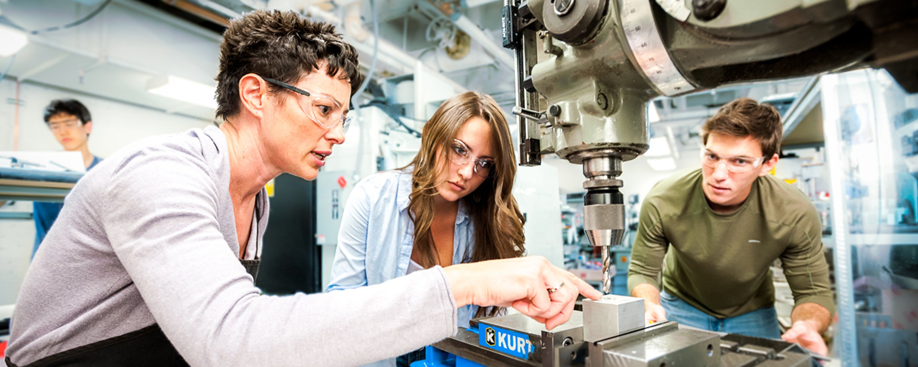 Teaching Professor Daria Kotys-Schwartz in machine shop