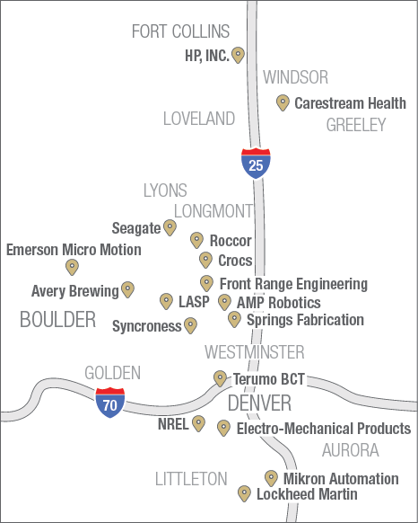 Mechanical Engineering Industry Partners locations map graphic