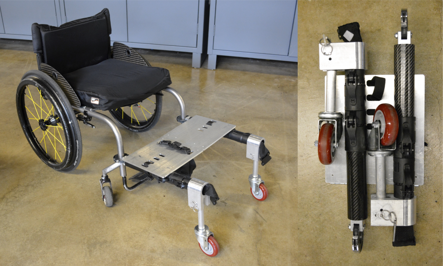 QL+ wheelchair folded and expanded