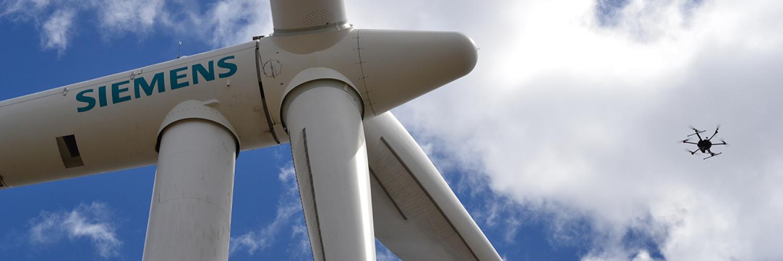 Wind turbine and drone siemens gamesa cu boulder capstone engineering