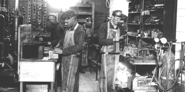 Testing storage batteries in 1918.