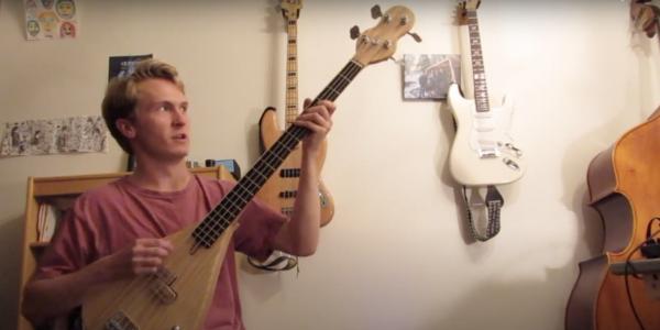 Noah Gilsdorf with homemade bass