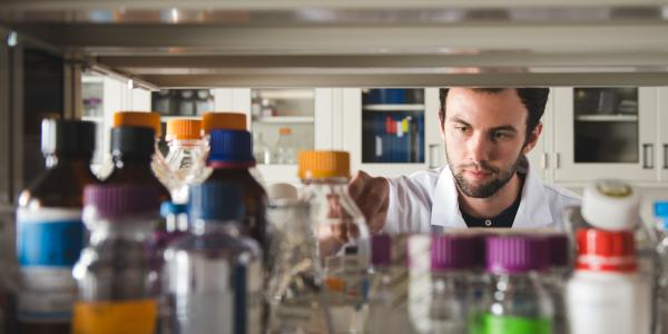 A student in a biomedical lab.