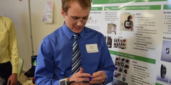 A student with a wearable device.
