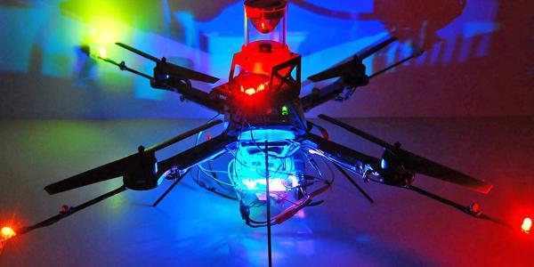 A quadcopter drone.