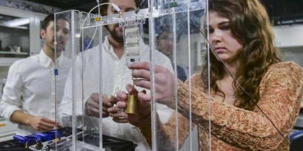 Undergraduate Research Student working in soft robotics lab