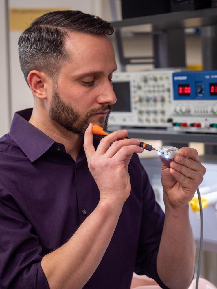 Greg Formosa works on the Endoculus robotic capsule endoscope