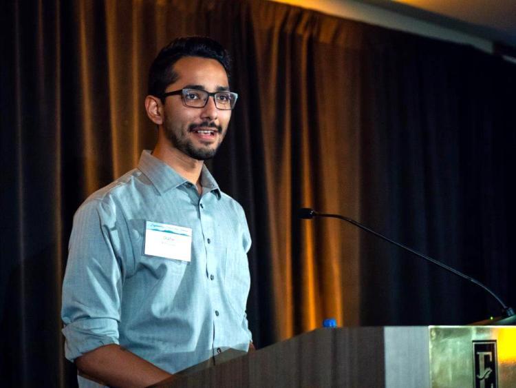 Gabe speaking at Colorado Engineer scholarship dinner