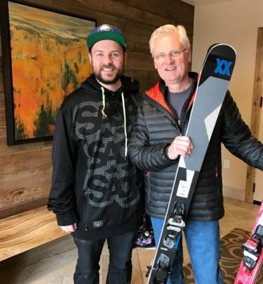 Andrew Tomaschke with Dad and skis