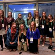 Students from Delta County and Greeley high schools pose at the American Public Health Association Conference in Denver following a roundtable discussion on their projects with health professionals.