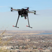 A flying UAV in Boulder