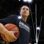 Haley Smith with a basketball