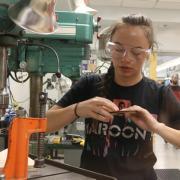 Alyvia Hildebrand works in the lab