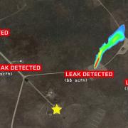A visualization of multiple leaks in the field.