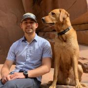 Luke Pagni with his dog