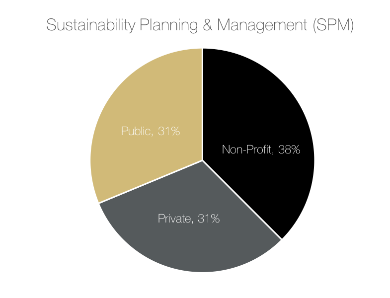 38% of respondents are employed in the non-profit sector, 31% of respondents are employed in the private sector, and 31% of respondents are employed in the public sector.