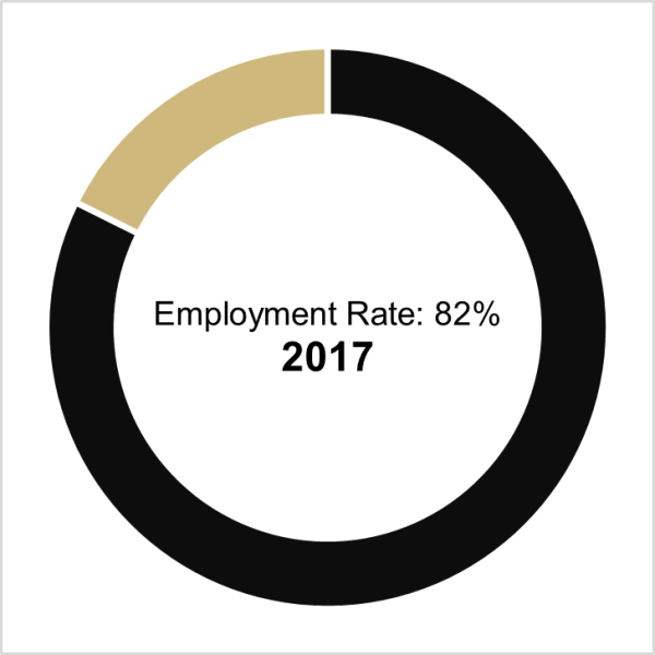 graph of class of 2017 employment rate, which is 82%