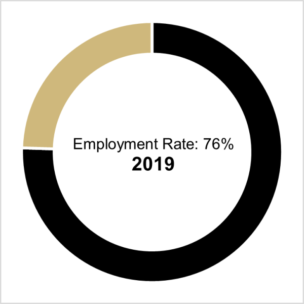 graph of class of 2019 employment rate, which is 76%