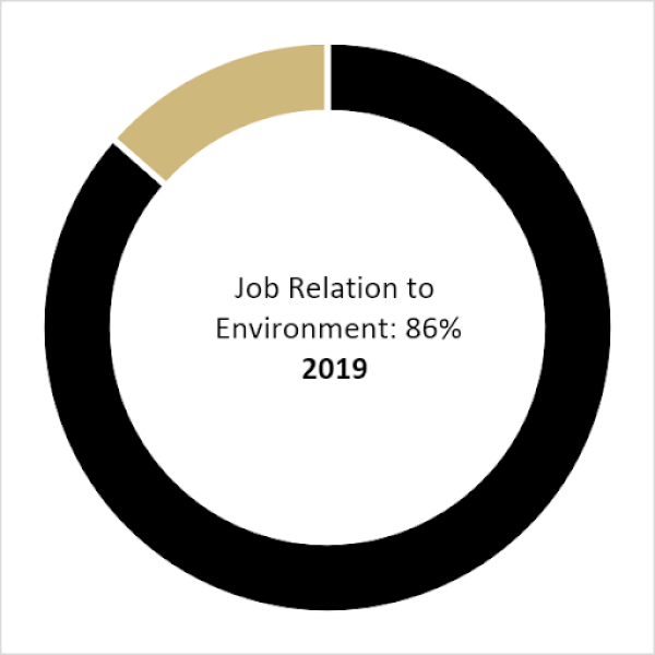 Class of 2019 Job Relation to the Environment (86%)