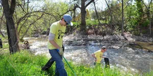 Cleaning up around Boulder Creek.
