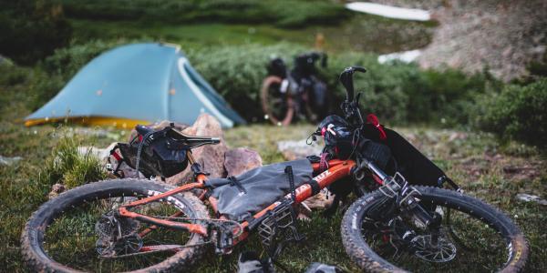 Mountain bike and tent