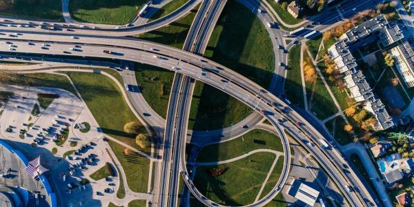 Aerial of intersecting highways