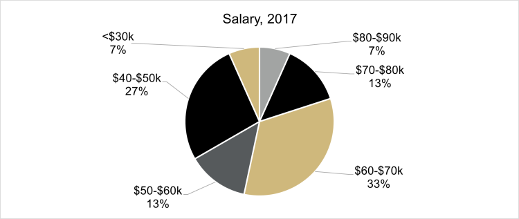 graph of class of 2017 salary distribution, showing 27% at less than $30,000, 4% at $30,000 to $40,000, 18% at $40,000 to $50,000, 9% at $50,000 to $60,000, 23% at $60,000 to $70,000, 14% at $70,000 to $80,000, and 5% at $80,000 to $90,000