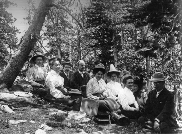 Professor Frances Ramaley  with picnic group