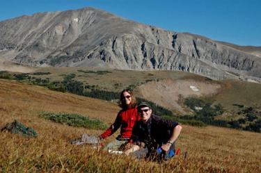 LTER researchers Courtney Meier and Kim Lohnas with the South Saint Vrain drainage and Mount Audobon in the background