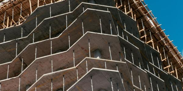 structural foundation of a building being constructed
