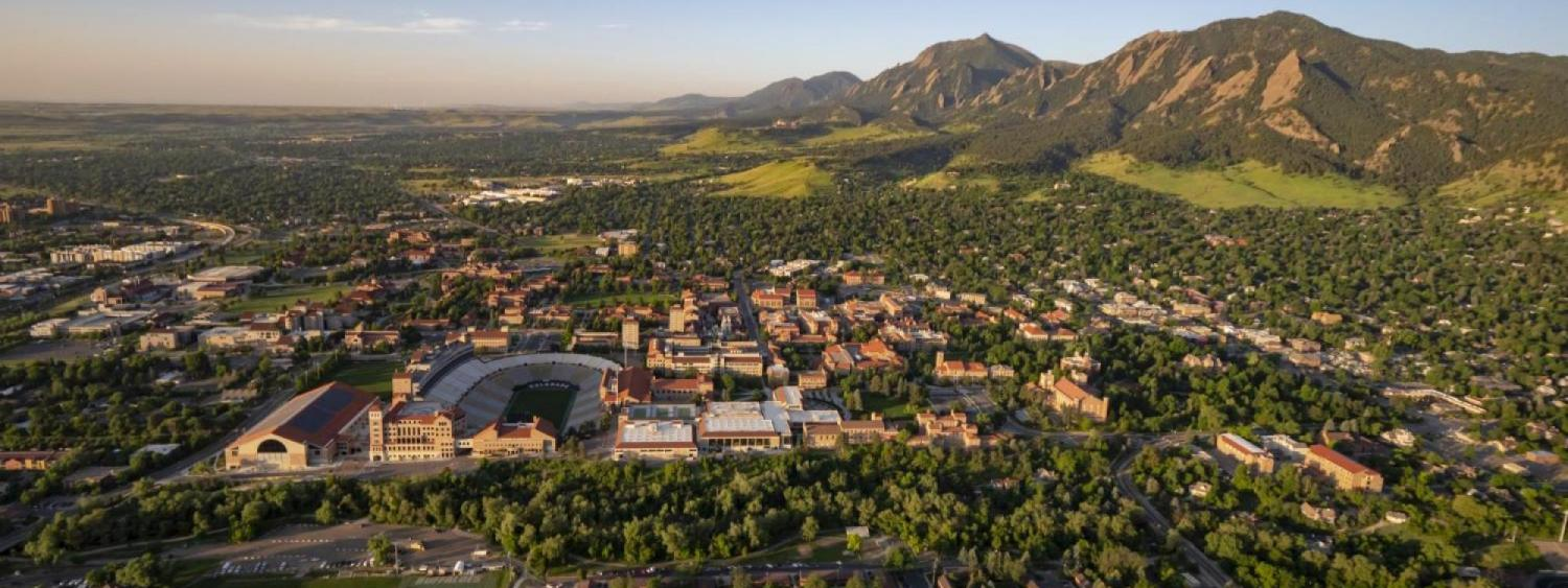 Aerial shot of the CU Boulder campus with Flatirons in the background